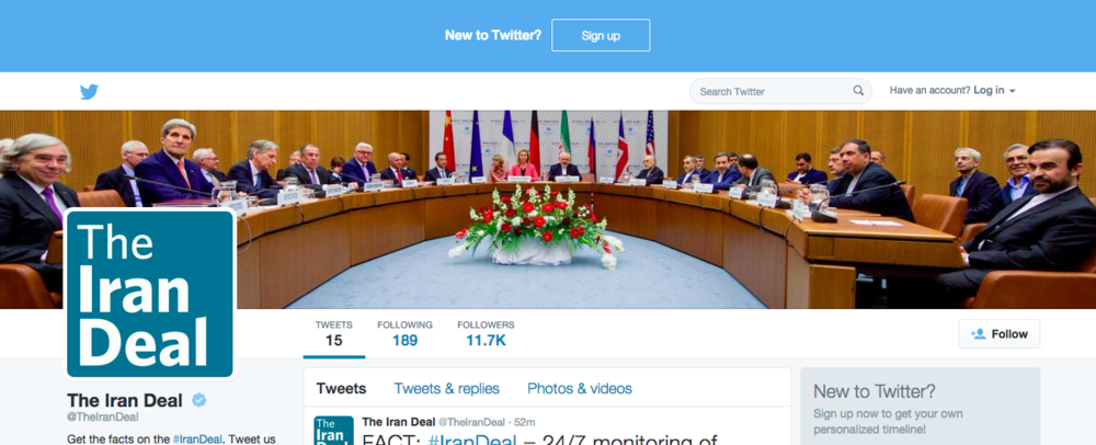 Click photo to download. Caption: The Twitter page of @TheIranDeal. Credit: Twitter.