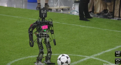 A U.S. team robot beat its Iranian counterpart in the annual Robocup soccer tournament in Hefei, China. Credit: Sceenshot from Mashable.com video.