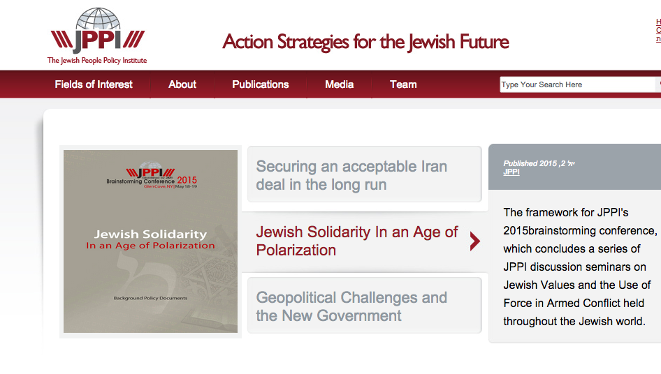 The Jewish People Policy Institute website. Credit: Screenshot.
