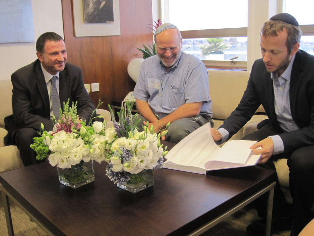 From left to right, Knesset Speaker Yuli Edelstein, Gidon Ariel of Root Source, and Rabbi Tuly Weisz of Israel365 in Edelstein's Knesset office. Israel365 presented Edelstein with a Jerusalem unity proclamation that was signed by more than 50,000 people. Credit: Courtesy Israel365.