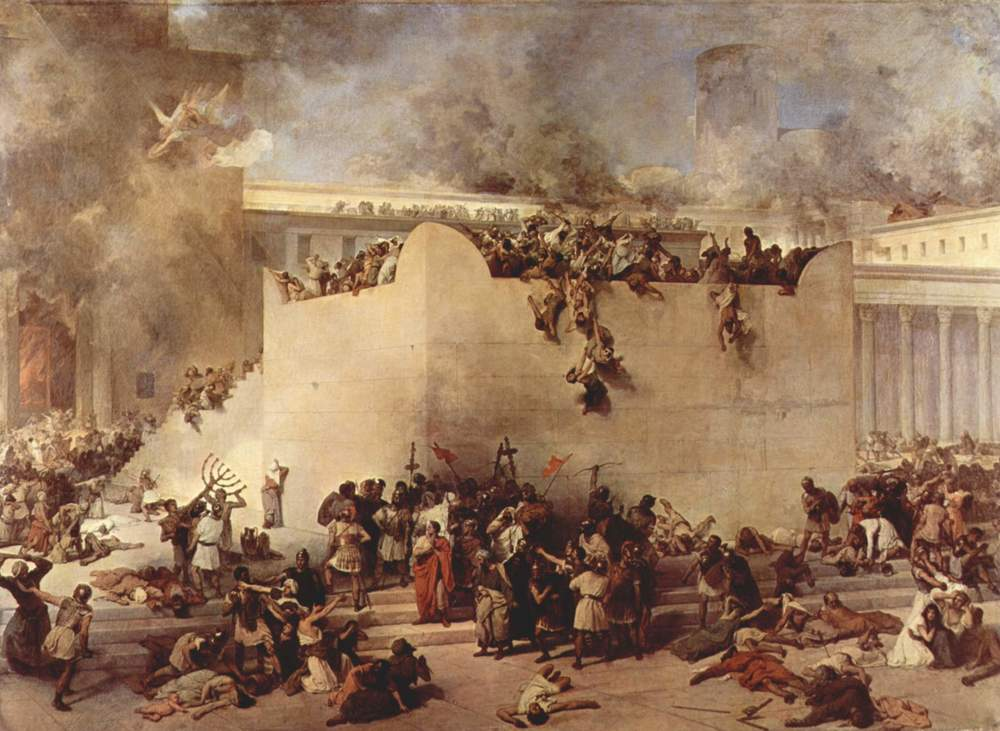 An illustration of the destruction of the Temple of Jerusalem, by Francesco Hayez. Credit: Wikimedia Commons.