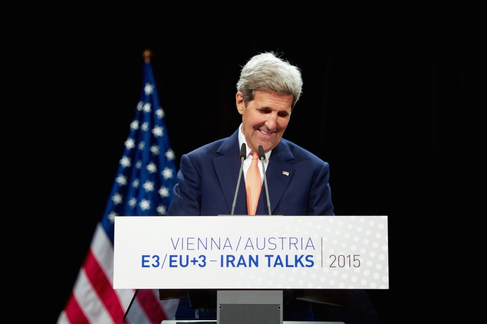 Click photo to download. Caption: Secretary of State John Kerry addresses reporters in Vienna following the announcement of a nuclear deal with Iran on July 14. Credit: State Department.