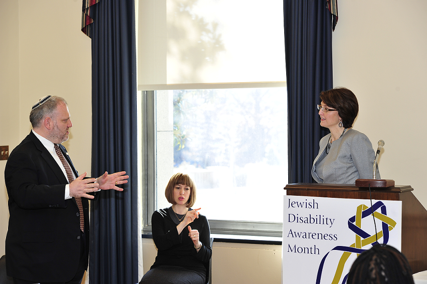 Click photo to download. Caption: William Daroff (pictured at left), senior vice president for public policy at The Jewish Federations of North America, speaks to U.S. Rep. Cathy McMorris Rodgers (R-Wash., pictured at the podium) during Jewish Disability Advocacy Day in 2013. Credit: The Jewish Federations of North America.