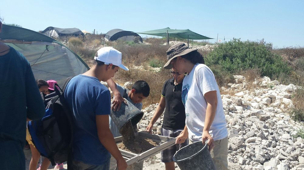 Click photo to download. Caption: Counterpoint Israel campers sift through dirt while on an archaeological dig. Credit: Courtesy Counterpoint Israel.