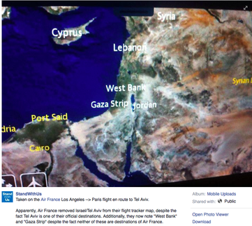 An image submitted by an Air France passenger showing Israel missing from an in-flight map, while the West Bank and the Gaza Strip (not destinations of Air France) are clearly labeled. Credit: Wikimedia Commons. Credit: Facebook.