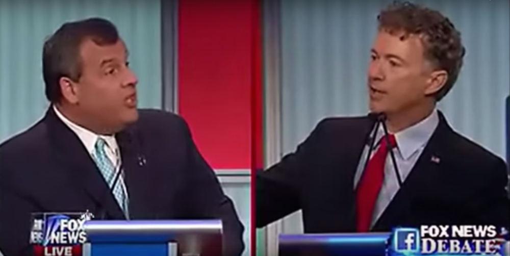 Click photo to download. Caption: Gov. Chris Christie (left) and Sen. Rand Paul squared off on the topic of U.S. aid to Israel during the Aug. 6 GOP presidential debate in Cleveland. Credit: YouTube.