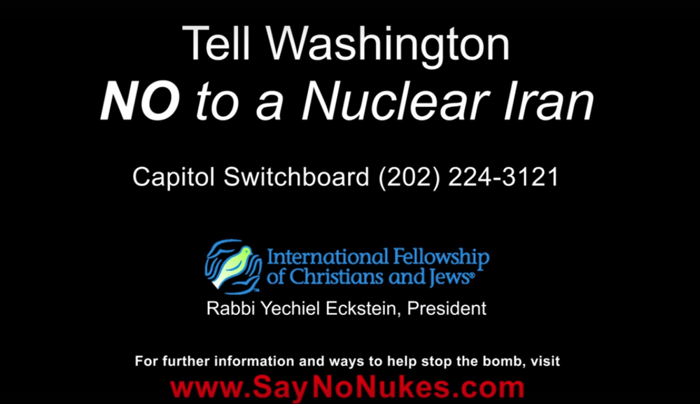 A screenshot from an International Fellowship of Christians and Jews video advertisement that opposes the Iran nuclear deal. Credit: YouTube.