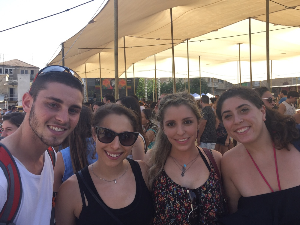 Click photo to download. Caption: New immigrant Eliana Rudee (second from left) and her friends in Israel. Credit: Courtesy Eliana Rudee.