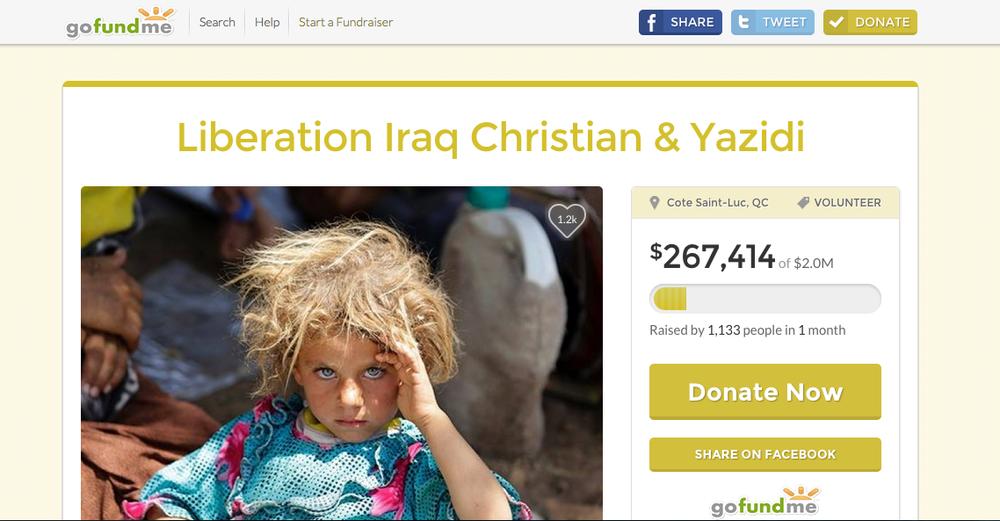 Steve Maman'sGoFundMe pagefor the liberation of Iraqi Christians and Yazidis. Credit: Screenshot.