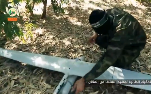 A Hamas video that claims to show the Palestinian terrorist group rebuilding an Israeli drone that crashed in Gaza. Credit: Screenshot.