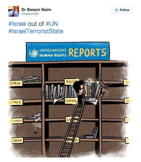 Click photo to download. Caption: Dr. Basem Naim's botched attempt to criticize Israel through a U.N.-related cartoon. Credit: Twitter.