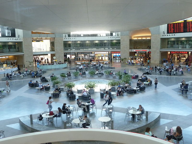 Click photo to download. Caption: The departure hall at Ben Gurion Airport. Credit: Vladislav Bezrukov via Wikimedia Commons.