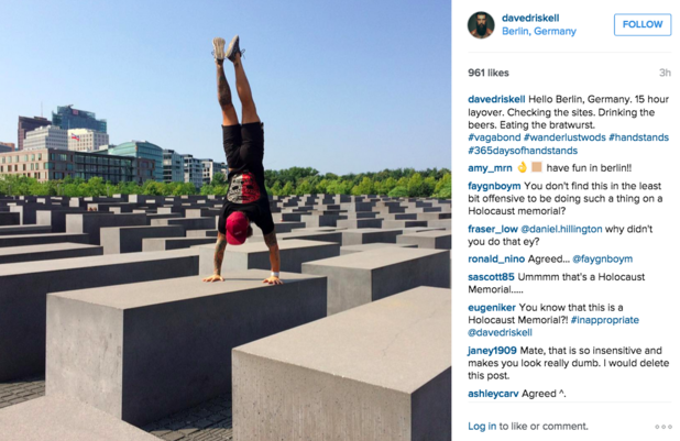 Click photo to download. Caption: CrossFit guru Dave Driskell does a headstand on Berlin's Holocaust memorial. Credit: Instagram.