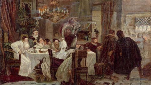 An 1892 painting by Moshe Maimon portraying a secret Passover seder during the Inquisition. Credit: Wikimedia Commons.