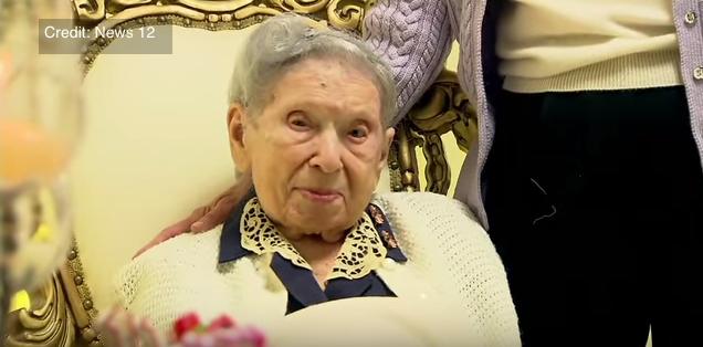 Jewish woman Goldie Steinberg, who died this week at age 114. Credit: YouTube screenshot via News 12.