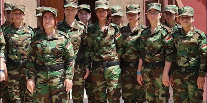 "The ""Sun Girls"" all-female Yazidi brigade. Credit: YouTube."