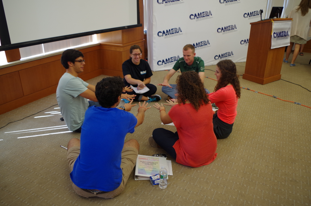 Click photo to download. Caption: Pro-Israel students leaders participate in a group activity at the recent student conference of the Committee for Accuracy in Middle East Reporting in America (CAMERA). Credit: CAMERA.