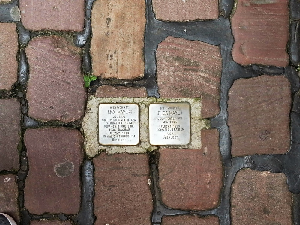 "Click photo to download. Caption: In Heidelberg, Germany, a ""Stolpersteine"" memorial for Holocaust victims Max and Olga Mayer. Credit: The Profitcy via Wikimedia Commons."