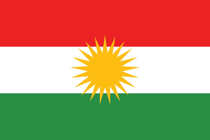 The Kurdish flag. Credit: Wikimedia Commons.