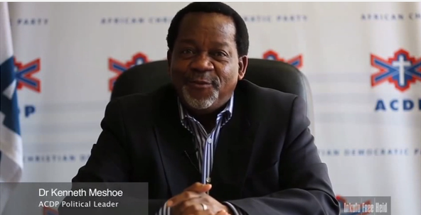 South African Member of Parliament Kenneth Meshoe. Credit: YouTube screenshot.