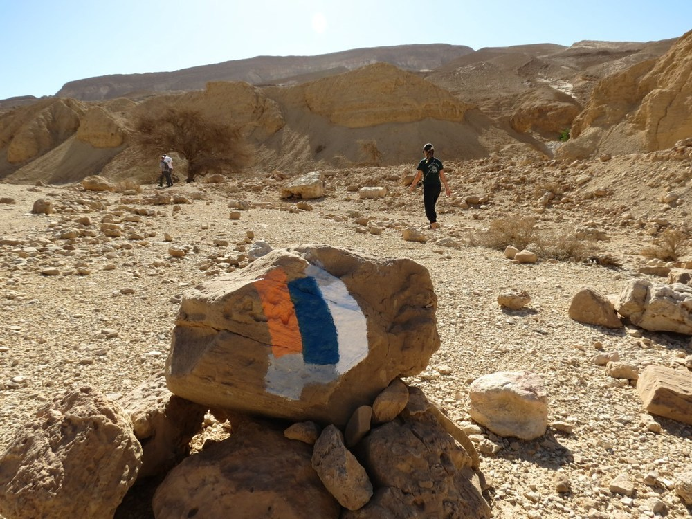 Click photo to download. Caption: The Arava desert along the Israel National Trail, with the trail's marker on the rock. Credit: Dov Greenblat.