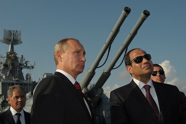 Russian President Vladimir Putin (left) and Egyptian President Abdel Fattah El-Sisi visit Russia's Moskva missile cruiser on Aug. 12, 2014. Credit: Russian Presidential Press and Information Office.