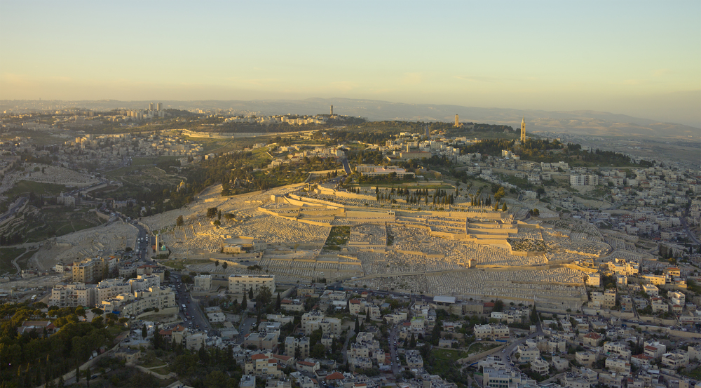 An aerial view of the Mount of Olives and its surrounding areas in Jerusalem. Credit: Godot13 via Wikimedia Commons.