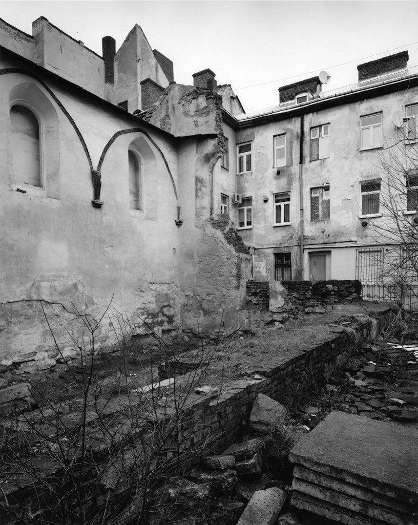 Click photo to download. Caption: The ruins of the Golden Rose synagogue in Lviv, Ukraine. Credit: Jason Francisco.