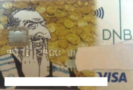 The controversial DNB Bank credit card with an unflattering image of a Jew. Credit: Hallelu Foundation.