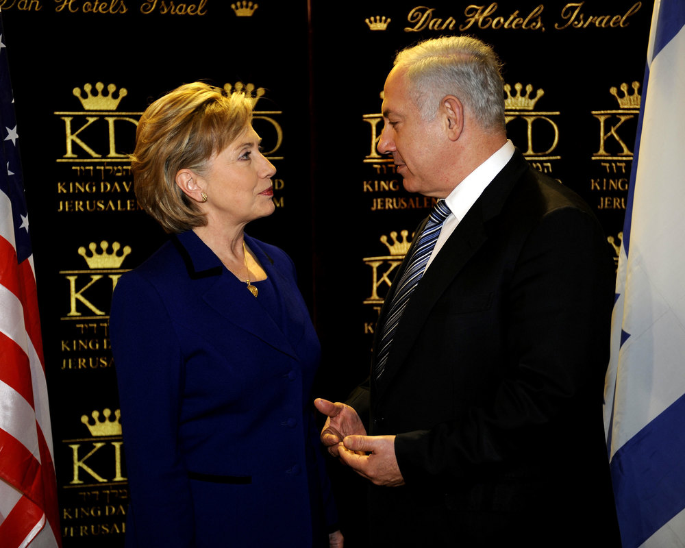 Click photo to download. Caption: Hillary Clinton, then U.S. secretary of state, with Israeli Prime Minister Benjamin Netanyahu at Jerusalem's King David Hotel in March 2009. Credit: State Department photo by Matty Stern.