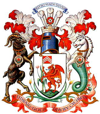 The coat of arms of Cardiff, Wales. Credit: Wikimedia Commons.