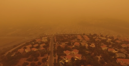 An unprecedented Middle East sandstorm reached Israel on Tuesday and may not dissipate until Rosh Hashanah. Credit: YouTube screenshot.