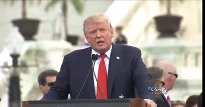 "Donald Trump speaks at the ""Stop the Iran Deal Rally"" on Capitol Hill on Sept. 9, 2015. Credit: YouTube screenshot."
