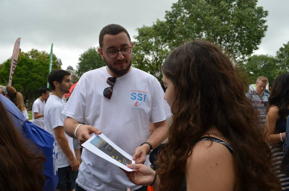 Click photo to download. Caption: A Students Supporting Israel member (center) in the field. Credit: Courtesy Students Supporting Israel.