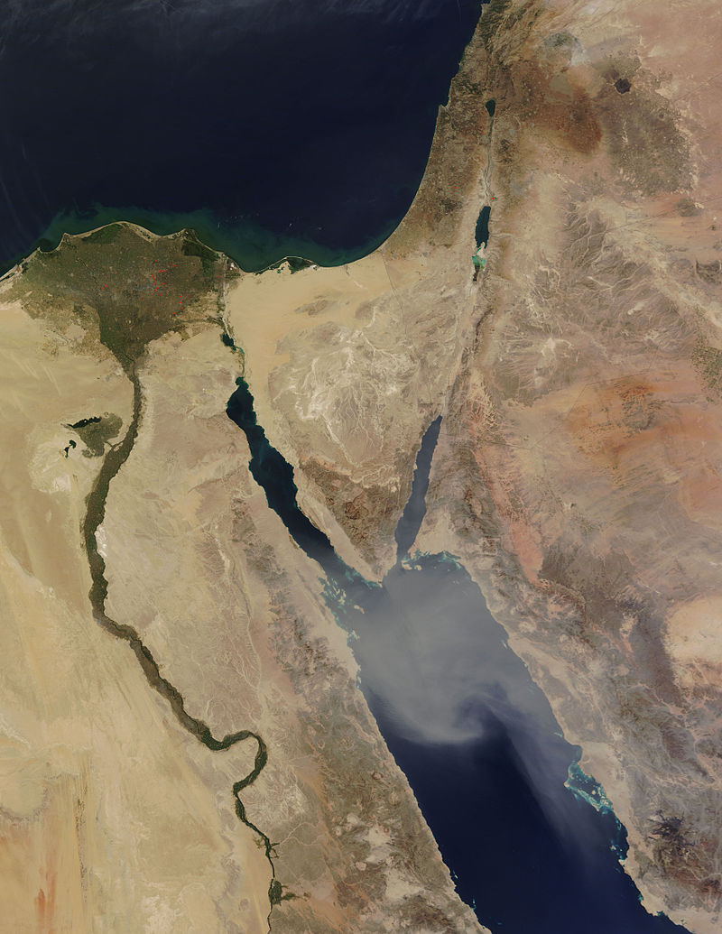 Satellite image of the Sinai Peninsula. Credit: Wikimedia Commons.