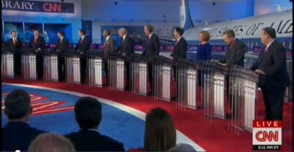 The second Republican presidential primary debate was held on Sept. 16 and was hosted by CNN. Credit: YouTube screenshot.