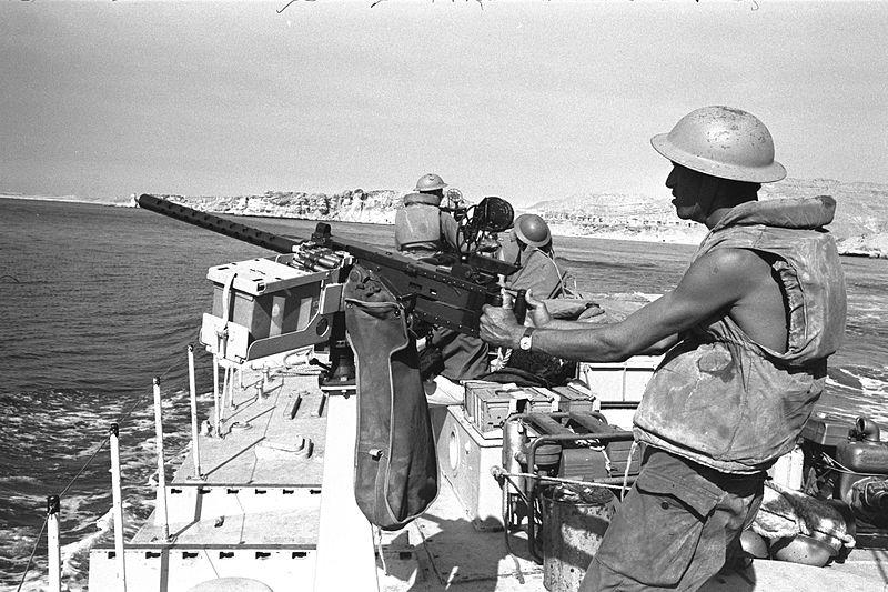 An Israeli gun boat passes through the Straits of Tiran near Sharm El Sheikh during the 1967 Six-Day War. Credit: Yaacov Agor/GPO.