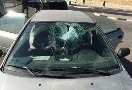 The car that was hit in Sunday's rock-throwing attack near the Palestinian village of Beit Sahur. Credit: Hatzolah Judea and Samaria.
