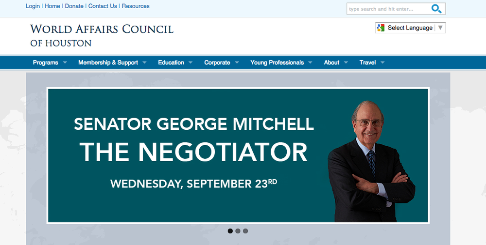 The World Affairs Council of Houston's website promotes its Sept. 23 event with George Mitchell, which conflicts with both Yom Kippur and Eid al-Adha. Credit: World Affairs Council website.