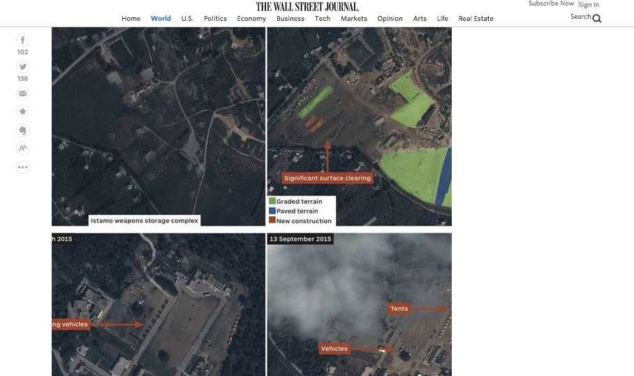 A Wall Street Journal report reveals satellite photos showing that Russia is building two additional bases in Syria. Credit: Screenshot via Wall Street Journal.