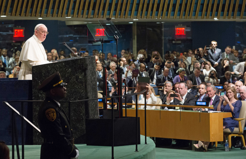 Pope Francis addresses the United Nations General Assembly on Friday. Credit: UN Photo/Evan Schneider.