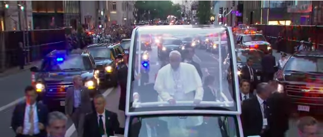 Pope Francis in New York City on Friday. Credit: YouTube.