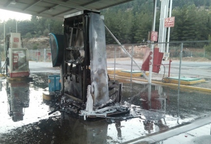 The aftermath of an August firebombing of a gas station in Eli in Samaria. Israel has arrested two Palestinian terrorists who admitted to the attack. Credit: Judea and Samaria Fire and Rescue Services.