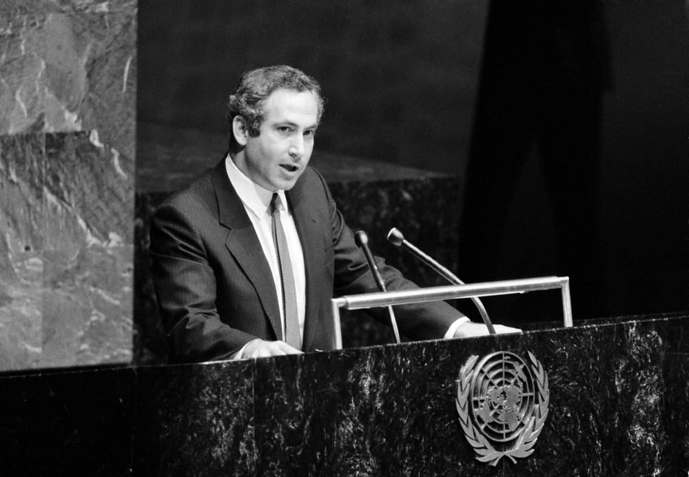 Benjamin Netanyahu addresses the United Nations General Assembly on Nov. 26, 1984. Credit: UN Photo/Saw Lwin.