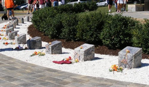 Click photo to download. Caption: On the Virginia Tech campus, a permanent memorial to the 2007 shooting massacre at that school. Credit: Wikimedia Commons.