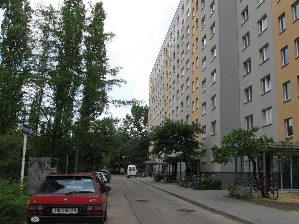 The dormitory building that housed JNS.org Managing Editor Alina Dain Sharon during her exchange program in Berlin in 2008 is an example of a typical GDR-period building. Credit: Alina Dain Sharon.