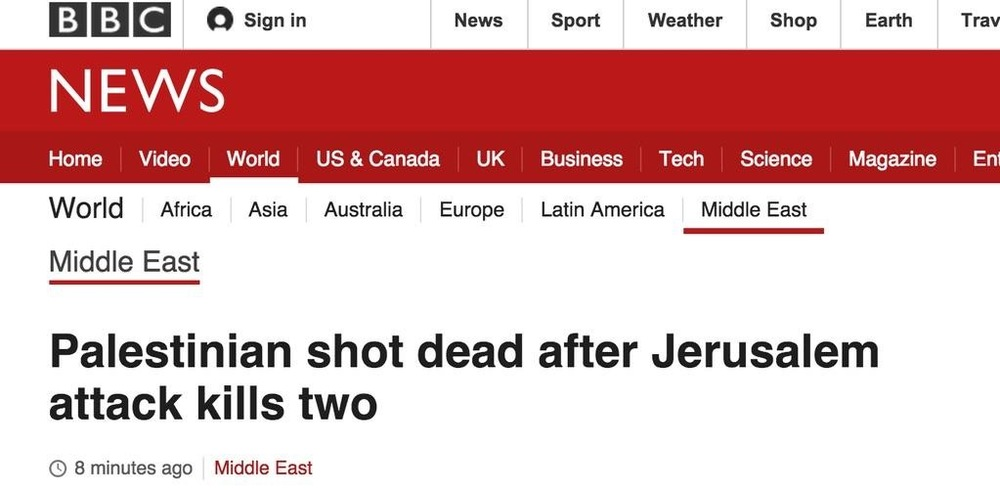 This BBC News' headline sparked outrage for misleading readers on a fatal stabbing attack in Jerusalem. Credit: Screenshot from BBC News via Honestreporting.com