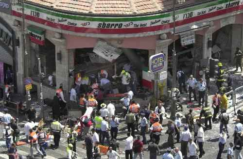 Palestinian terrorists involved with the Sbarro pizzeria bombing (pictured) in Jerusalem each receive fat salaries from the Palestinian Authority. Credit: Wikimedia Commons.