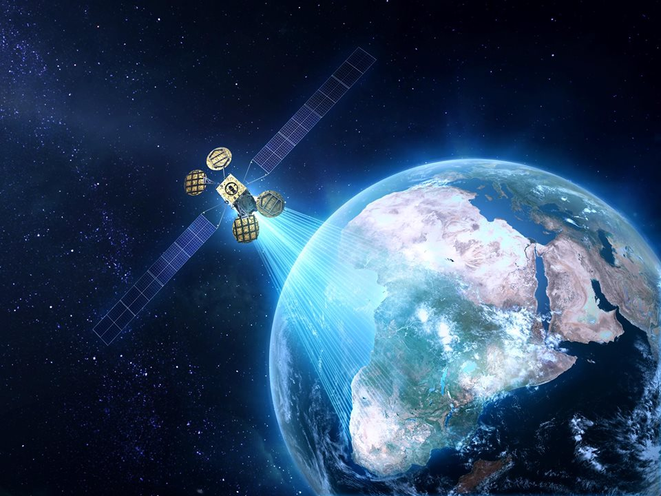 A sketch of the Israeli-built satellite that Facebook will use to bring Internet access to Africa. Credit: Facebook.