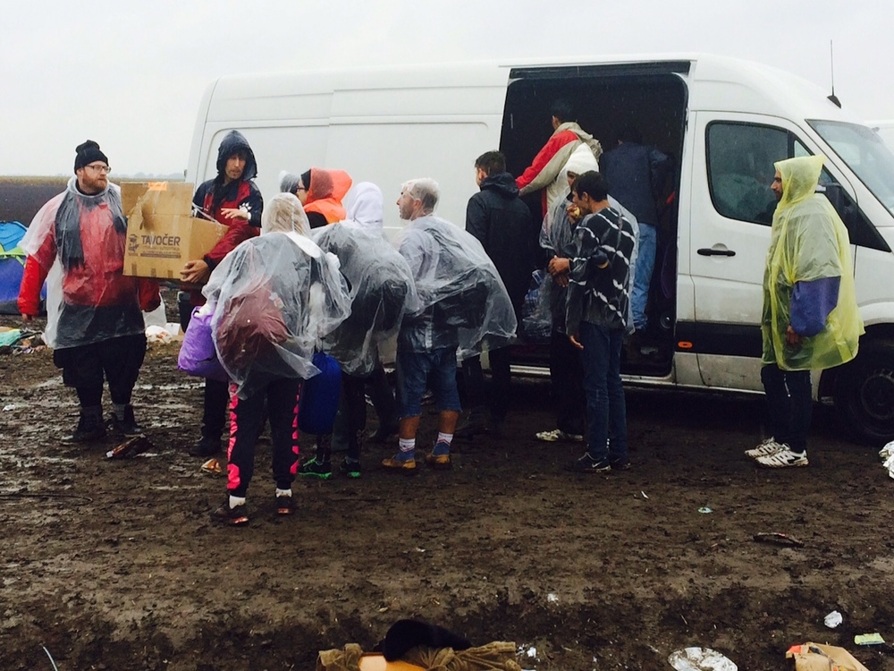 Click photo to download. Caption: Relief efforts for Syrian refugees near the border with Serbia in Hungary. Credit: JDC.